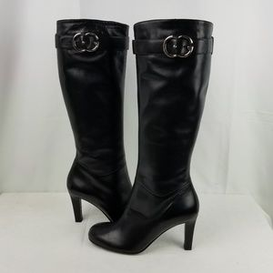 Gucci Leather Knee High Boots Block Heel size 38.5
